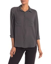 Pleione Long Sleeve Utility Blouse - Gray