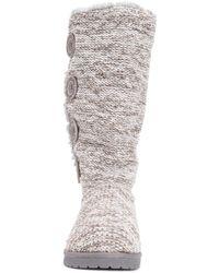 Muk Luks Liza Water-resistant Faux Fur Knit Boot - Grey