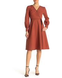 Alexia Admor Faux Wrap Long Sleeve Midi Dress - Multicolor