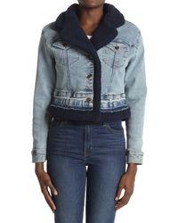 Ella Moss Mixed Denim Jacket - Blue