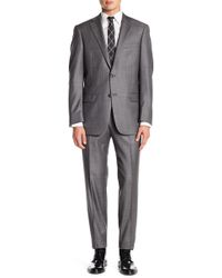 Hart Schaffner Marx - Grey Woven Notch Lapel Wool New York Fit 2-piece Suit - Lyst