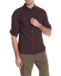John Varvatos Check Print Regular Fit Shirt - Red