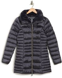 Save The Duck Faux Fur Collar Puffer Coat - Gray