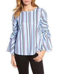 Halogen - Ruched Sleeve Stripe Top - Lyst
