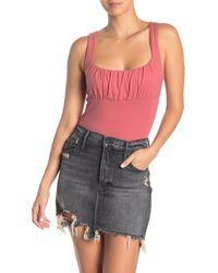 Lush Sleeveless Ruched Bodysuit - Multicolour