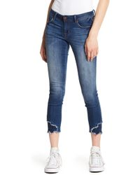 1822 Denim - Embroidered & Raw Hem Skinny Jeans - Lyst