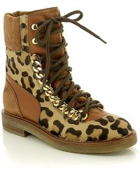 Casadei Leopard Patterned Combat Boot - Brown