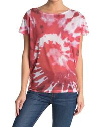 Go Couture Printed Cap Sleeve Shirt - Red