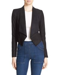 Alice + Olivia Harvey Suede Open Front Crop Jacket - Black