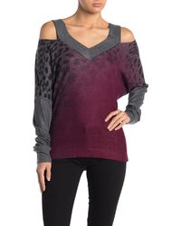Go Couture V-neck Cold Shoulder Hacci Sweater - Multicolor