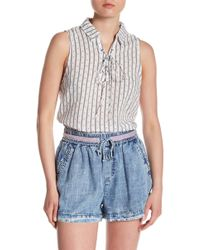 Skies Are Blue - Lace-up Patterned Tank - Lyst