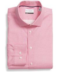 Calibrate - Trim Fit Stretch Geometric Dress Shirt - Lyst