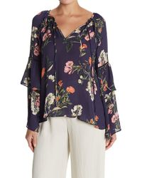 Parker Floral Tiered Sleeve Blouse - Blue