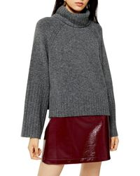 TOPSHOP Knitted Super Soft Crop Turtle Neck Sweater - Gray