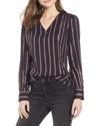 Hinge Twill & Lace Stripe V-neck Top - Blue