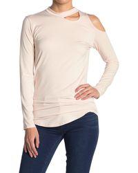 Go Couture Asymmetrical Slash Long Sleeve T-shirt - Pink