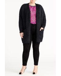 Rachel Roy Amara Fuzzy Cardigan (plus Size) - Black