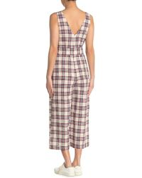 Moon River Plaid Belted Sleeveless Crop Jumpsuit - Multicolor