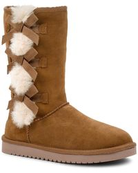 UGG Victoria Tall Genuine Dyed Shearling Trim & Faux Fur Boot - Brown