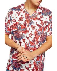 TOPMAN - Patterned Short Sleeve Classic Fit Shirt - Lyst