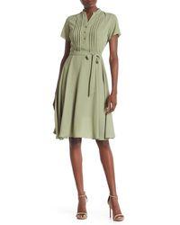 Nanette Lepore Short Sleeve Pintuck Dress - Green