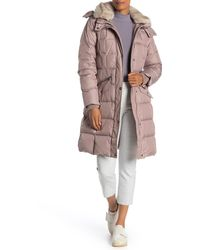 London Fog Faux Fur Trim Hooded Zip Long Puffer Down Blend Jacket - Multicolor