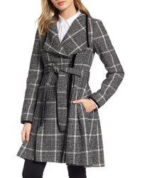 Guess Velvet Trim Plaid Tweed Coat - Multicolour