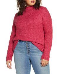 BP. Funnel Neck Bouclé Sweater - Red