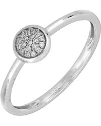 Bony Levy | 18k White Gold Pave Diamond Round Stackable Ring - 0.04 Ctw | Lyst