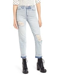 BP. X Claudia Sulewski Ripped High Waist Mom Jeans - Blue
