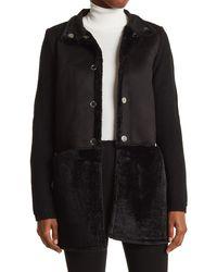 Love Token Peter Faux Fur Trim Mixed Media Jacket - Black