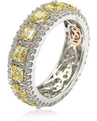 Suzy Levian Sterling Silver Asscher Cz Eternity Band Ring - Yellow
