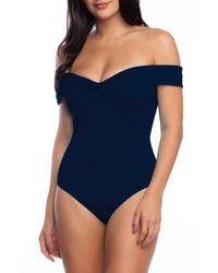Trina Turk Getaway Solids Twist Bandeau One Piece Swimsuit - Blue