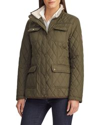 Lauren by Ralph Lauren Faux Shearling Lined Quilted Safari Jacket - Green