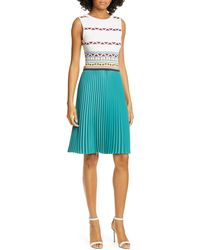 Ted Baker Triangle Print Pleated Dress - White