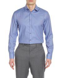 Calibrate Trim Fit Non-iron Stretch Solid Dress Shirt - Purple