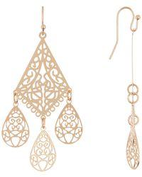 Panacea Laser Cut Chandelier Earrings - Metallic