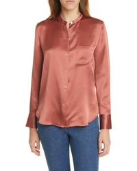Vince Silk Long Sleeve Blouse - Pink