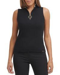 Calvin Klein O-ring Rib Knit Sleeveless Top - Black