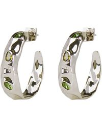 Alexis Bittar Stone Studded Crumpled Hoop Earrings - Metallic