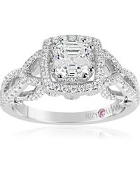Suzy Levian - Sterling Silver Asscher Cut White Cubic Zirconia Engagement Ring - Lyst