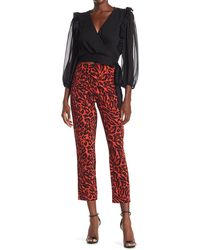 Do+Be Collection Leopard Print High Waist Ankle Crop Pants - Red