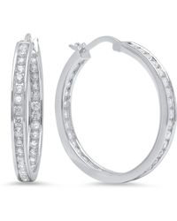 Sevil Jewelry - Rhodium Plated Sterling Silver Hoop Earrings - Lyst