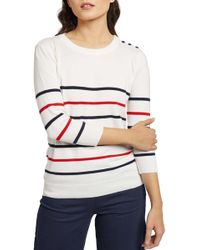 ModCloth Charter School Stripe Sweater (regular & Plus Size) - White