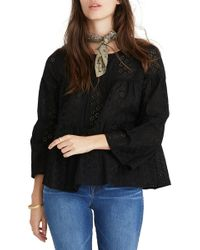 Madewell Tiered Button Back Eyelet Top (regular & Plus Size) - Black