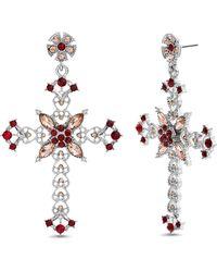 Steve Madden - Rhinestone Cross Drop Earrings - Lyst