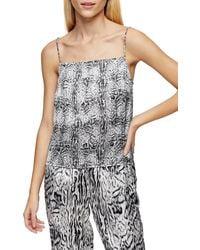 TOPSHOP Black And White Blur Animal Pyjama Cami - Multicolour