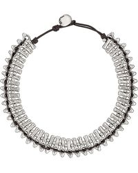 Uno De 50 Mandala Silver-tone Beaded Cord Necklace - Metallic