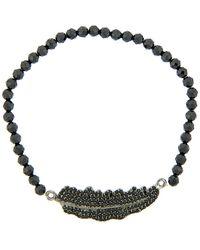Adornia - Aria Stretch Black Spinel Feather Bracelet - Lyst