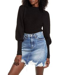 Leith Juliet Sleeve Sweater - Black